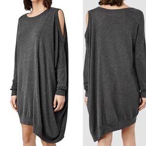 All Saints Black Sago Dress one shoulder silk